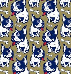 background cartoon style french bulldog smile vector image vector image