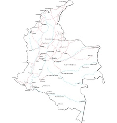 Colombia Black White Map vector image