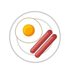 egg fried isolated icon vector image