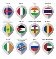Marker from paper with flag for map - set sixth vector