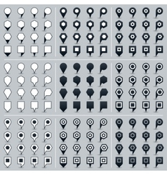 Set map pin sign location icon in flat style vector image vector image
