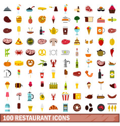 100 restaurant icons set flat style vector image