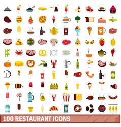 100 restaurant icons set flat style vector image