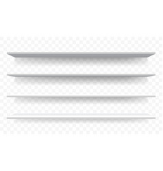3d shelves white wall perspective isolated shelf vector image