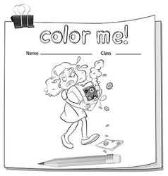 A worksheet with a young girl vector image