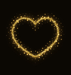 abstract gold glittering heart frame vector image