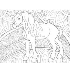 Adult coloring bookpage a cute cartoon unicorn vector