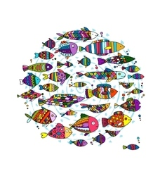 Art fish collection sketch for your design vector image