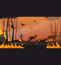 Australian animals silhouettes running from forest vector