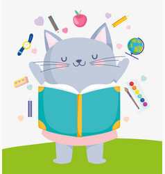 Back to school cute cat reading book supplies vector