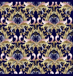 baroque seamless pattern gold baroque wallpaper vector image