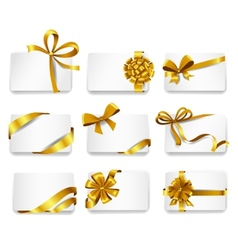 Beautiful cards with gold bows vector