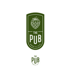 Beer pub emblem hop cone letters engraving style vector