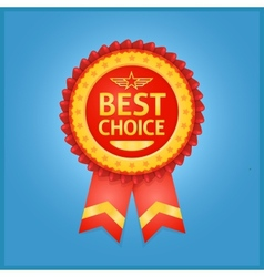 Best choice red label on blue vector image