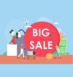 big sale promotion banner template female cartoon vector image