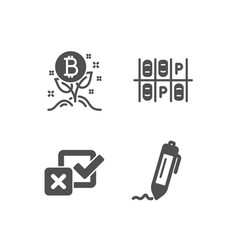 Bitcoin project parking place and checkbox icons vector