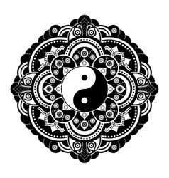 Black and white henna tatoo mandala Yin vector