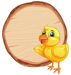 Blank sign template with little chick on white vector