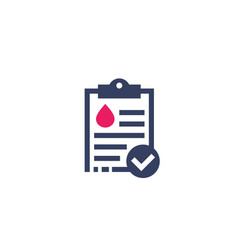 Blood test results report icon vector