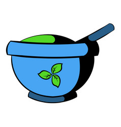 Blue mortar and pestle icon icon cartoon vector