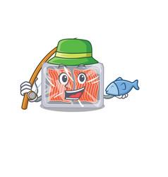 Cartoon design concept frozen salmon while vector