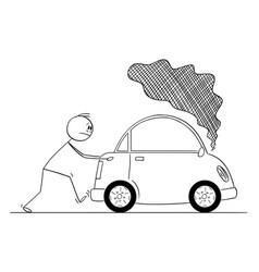 cartoon man pushing broken car with smoke vector image