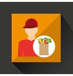 Cartoon man red cap with shop bag healthy food vector