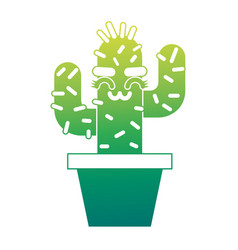 cartoon potted cactus kawaii character vector image