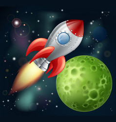 Cartoon rocket in space vector