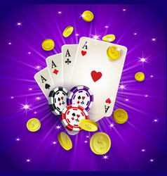 Casino banner with tokens coins playing cards vector