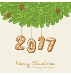 Christmas card with gingerbread year number vector