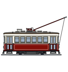 Classic dark red and white tramway vector