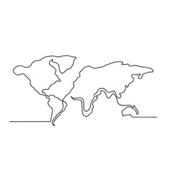 Continuous one line drawing a world map vector