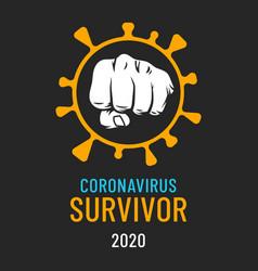 coronavirus slogan covid19 virus stop fist sign vector image