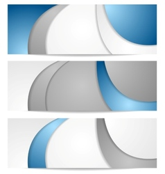 Corporate wavy blue and grey banners vector