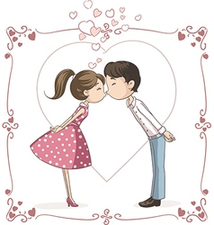 Couple Kissing Cartoon vector