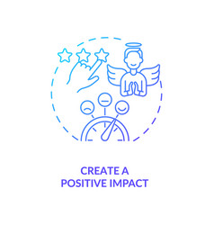 Create positive impact navy gradient concept icon vector