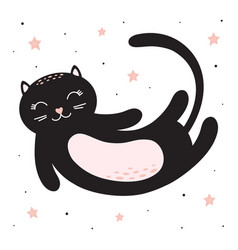 cute card with cat and stars vector image