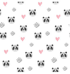 cute cartoon pattern with panda heads and hearts vector image