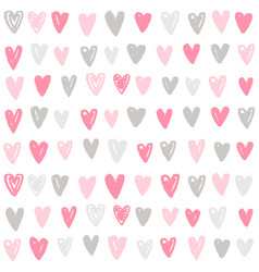 Cute paint hand drawn hearts background vector