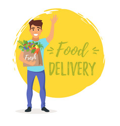 Delivery man with fresh vegetables vector
