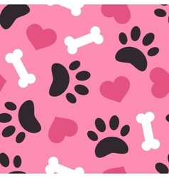 Dog paw trace silhouette with bones and pink heart vector