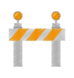 drawing road barrier stop warning light vector image