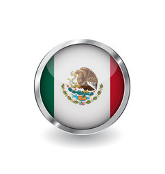 flag of mexico button with metal frame and shadow vector image