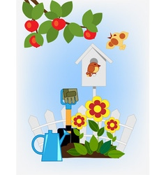 Flower beds in the garden and birdhouse vector