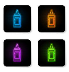 glowing neon mustard bottle icon isolated on vector image