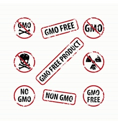 GMO Free stamps set vector image
