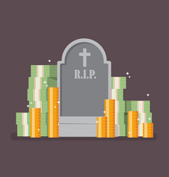 graveyard with cash money vector image