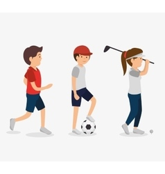 Group of athletes avatars characters vector