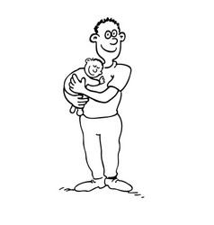 happy dad is holding her babyboy outlined cartoon vector image
